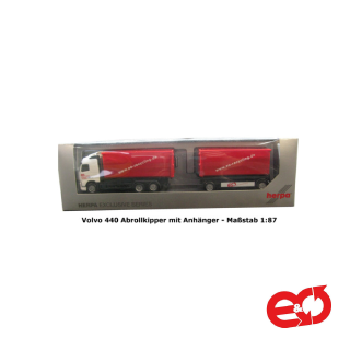 Herpa Exclusive Series Volvo 440 Abrollkipper mit Anhänger EO-Recycling